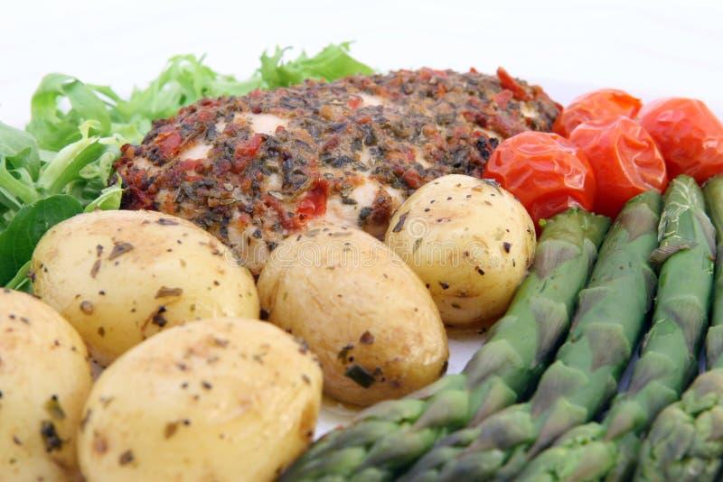 Het gezonde voedsel van het restaurantdieet met exemplaarruimte royalty-vrije stock afbeelding