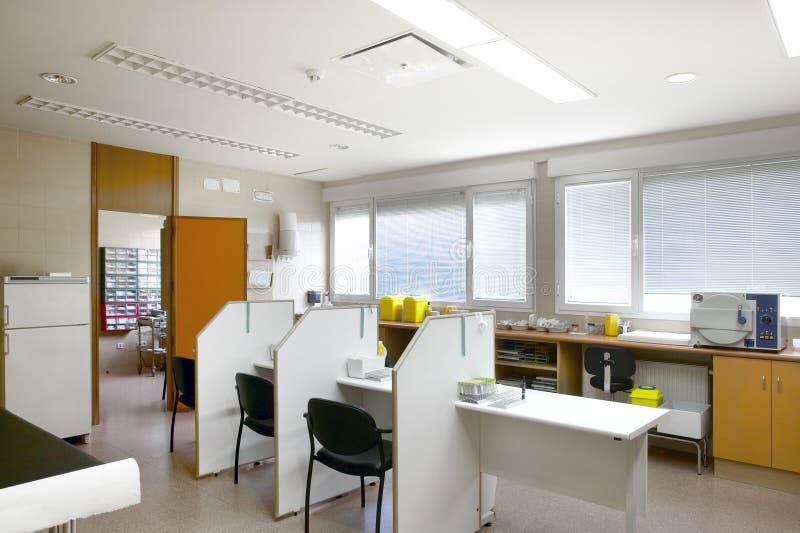 Het gezondheidscentrumbloed trekt ruimte Materiaal van de het ziekenhuis het binnengezondheidszorg stock afbeeldingen