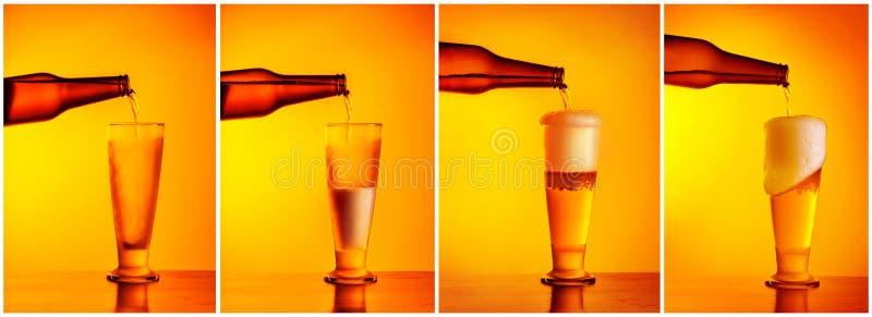 Het gieten de collage van de bieropeenvolging royalty-vrije stock foto's