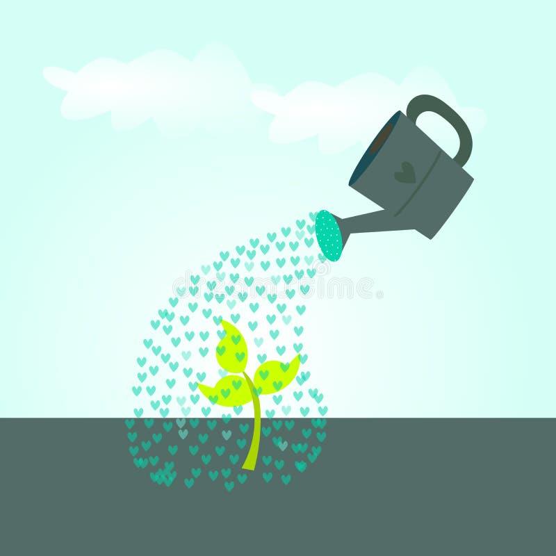 Het gieten liefde, het oogsten de groei vector illustratie
