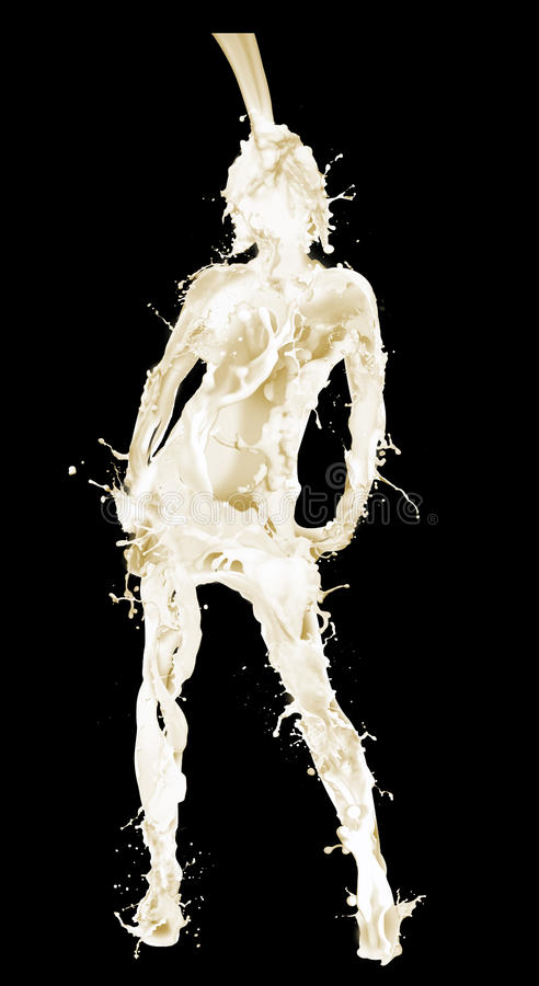 Het gieten van de melk in vorm van vrouw royalty-vrije stock afbeeldingen