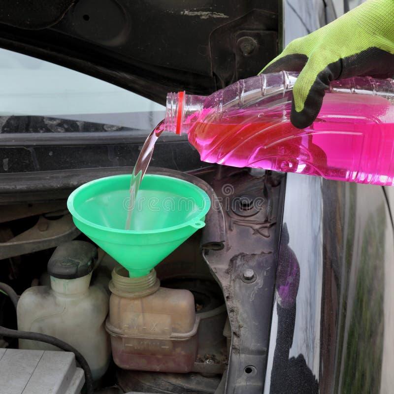 Het gietende antivriesmiddel van de arbeidershand aan auto stock afbeeldingen