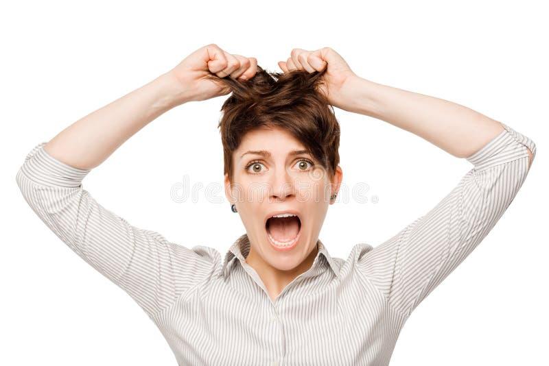 Het gillen gek bedrijfsvrouwenportret stock foto