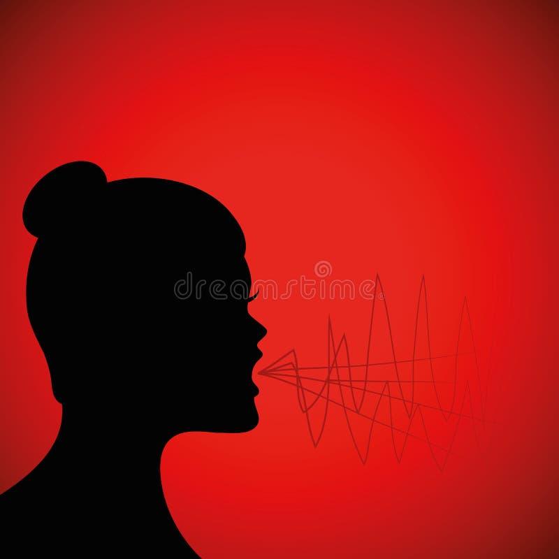 Het gillen vrouwensilhouet op rode achtergrond stock illustratie