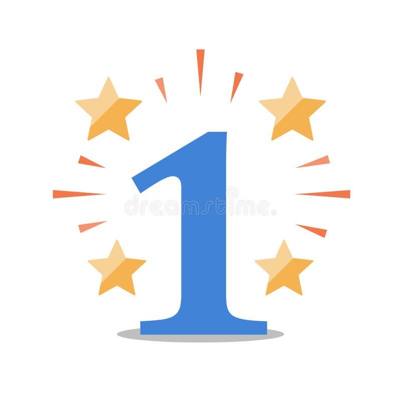 Het glanzen aantal met sterren, het eerste concept van de plaatstoekenning, hoogste prestaties, hoge voltooiing, beste resultaten royalty-vrije illustratie