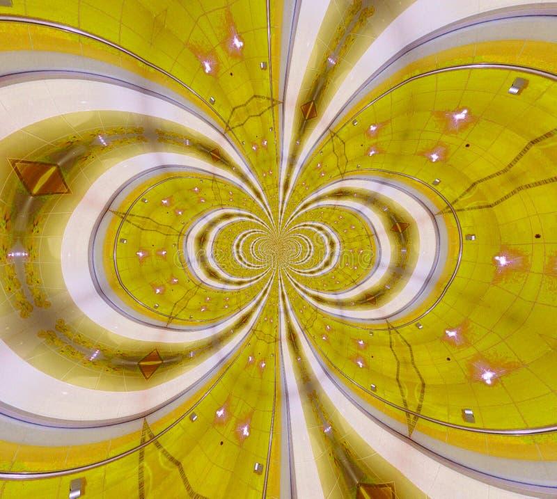Het glanzen gele en witte ceramische fractal stock illustratie