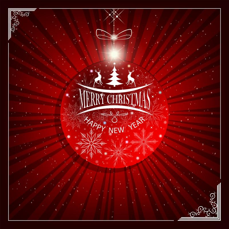 Het glanzen Kerstmissamenstelling met een silhouet van een Nieuwjaars bal, een abstracte Kerstboom met herten met een boog royalty-vrije illustratie