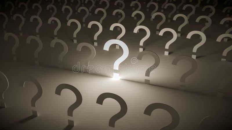 Het glanzen questionmark en vele questionmarks op achtergrond stock illustratie