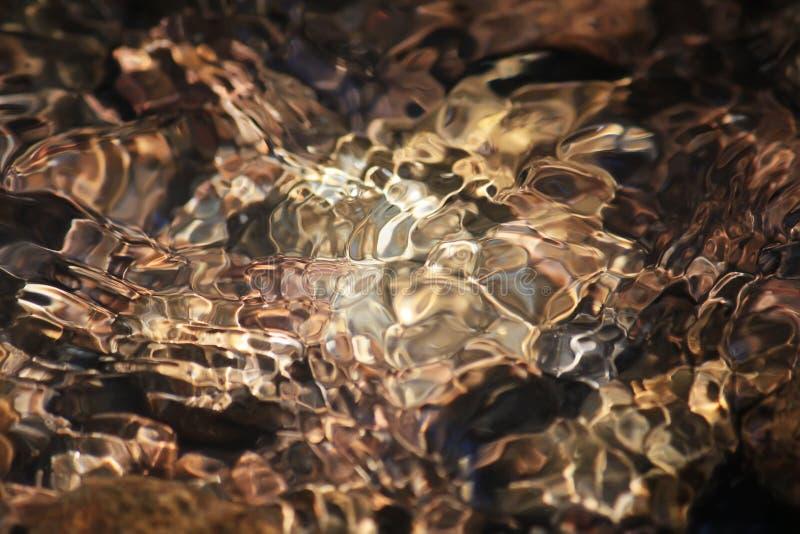 Het glanzen textuur van gekleurde stenen in een duidelijke bergkreek stock foto's