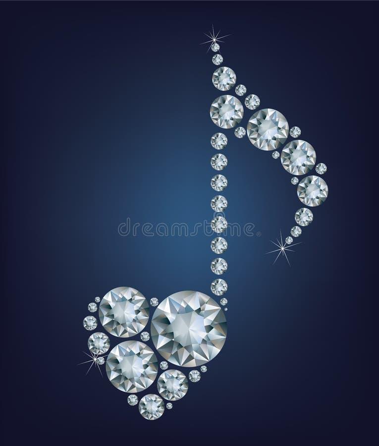 Het glanzende Diamond Music Note-symbool met hart maakte heel wat diamanten royalty-vrije illustratie