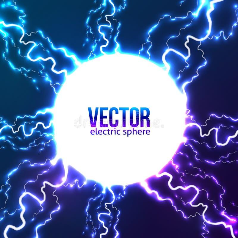 Het glanzende elektrische kader van de bliksem witte cirkel vector illustratie
