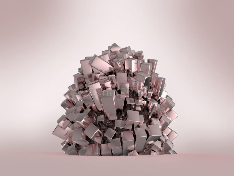 Het glanzende glanzende van het metaal kubieke kristal abstracte teruggeven als achtergrond vector illustratie