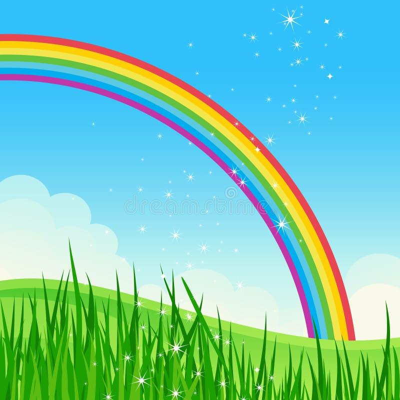 Het glanzende landschap van de regenboogweide. stock illustratie