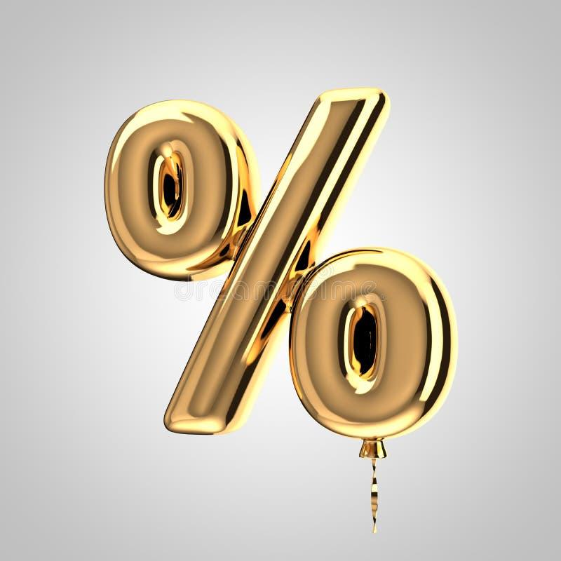 Het glanzende metaal gouden symbool van ballonpercenten dat op witte achtergrond wordt geïsoleerd vector illustratie