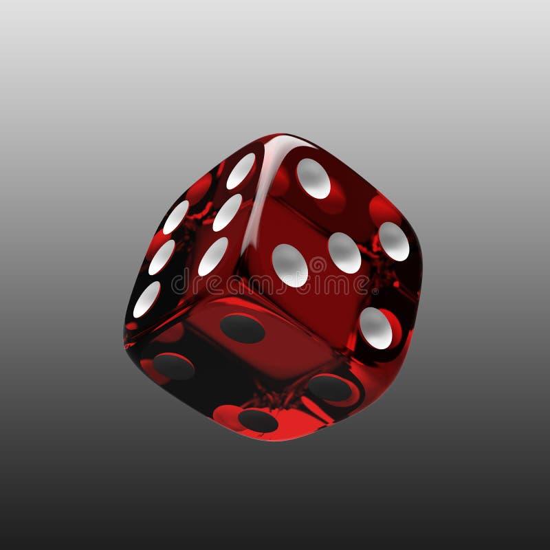 Het glanzende rood dobbelt stock illustratie