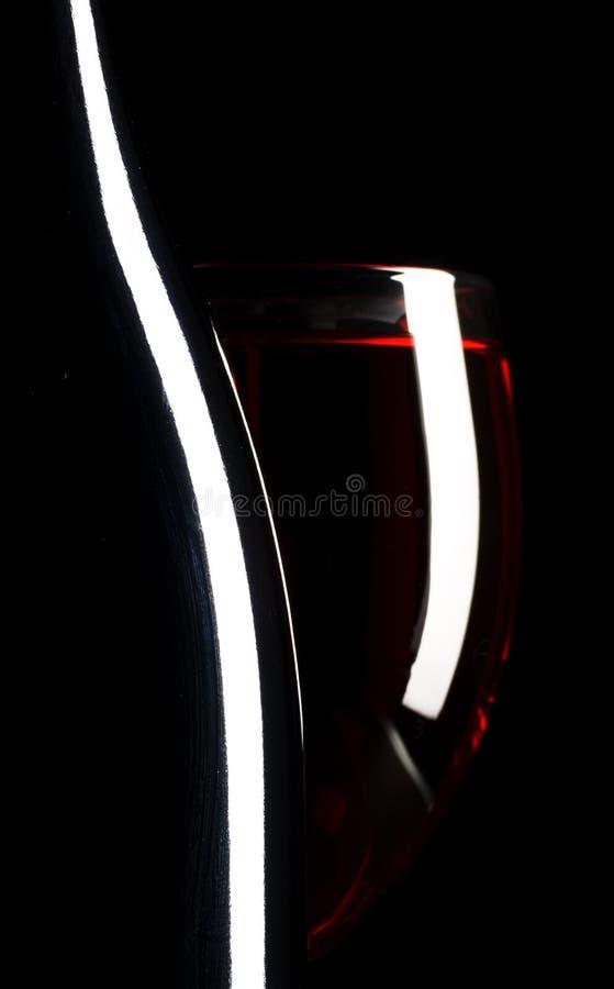 Het glas en de fles van de wijn royalty-vrije stock foto's