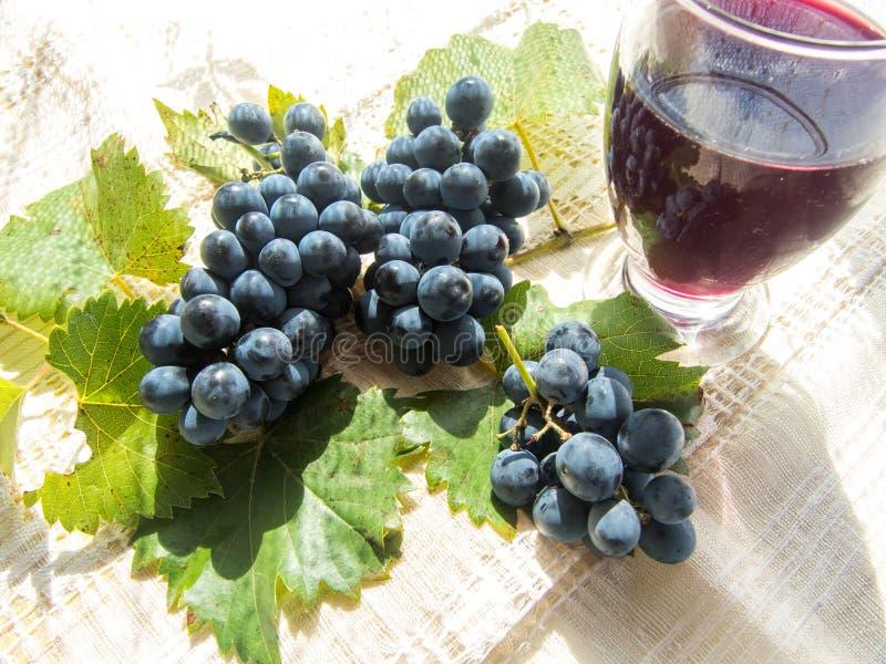 Het glas met zwavelt en druiven stock afbeeldingen