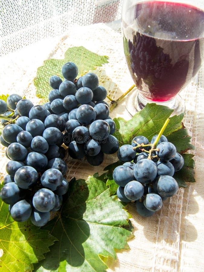 Het glas met zwavelt en druiven royalty-vrije stock foto