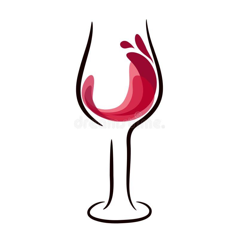 Het glas rode wijn met plons, hand trekt, illu van het voorraad vectorembleem vector illustratie