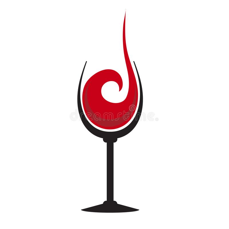 Het glas rode wijn met plons, hand trekt, illu van het voorraad vectorembleem stock illustratie