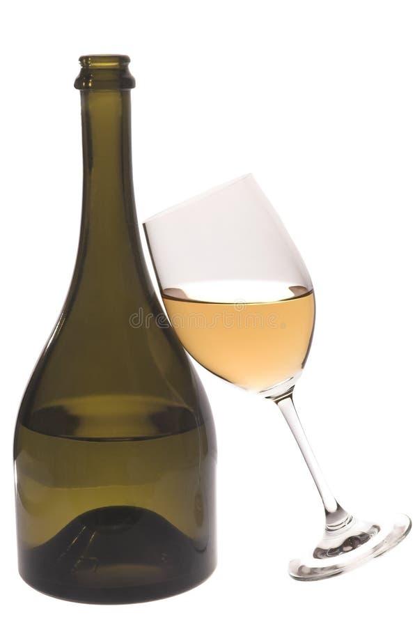 Het glas van de fles en van de wijn royalty-vrije stock afbeelding
