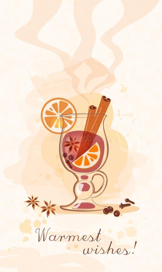 Het glas van de groetkaart witn overwogen wijn royalty-vrije illustratie