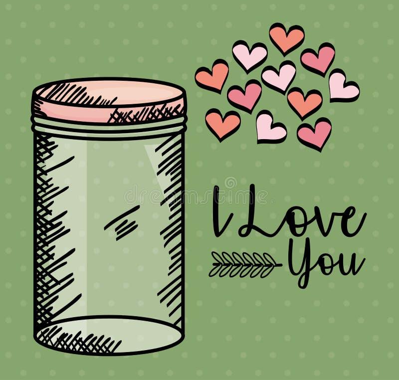 Het glas van de metselaarkruik met harten trekt royalty-vrije illustratie