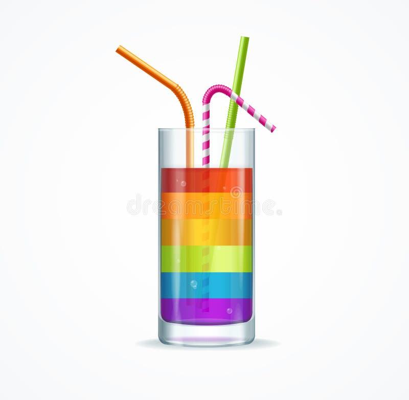 Het Glas van de regenboogcocktail Vector vector illustratie
