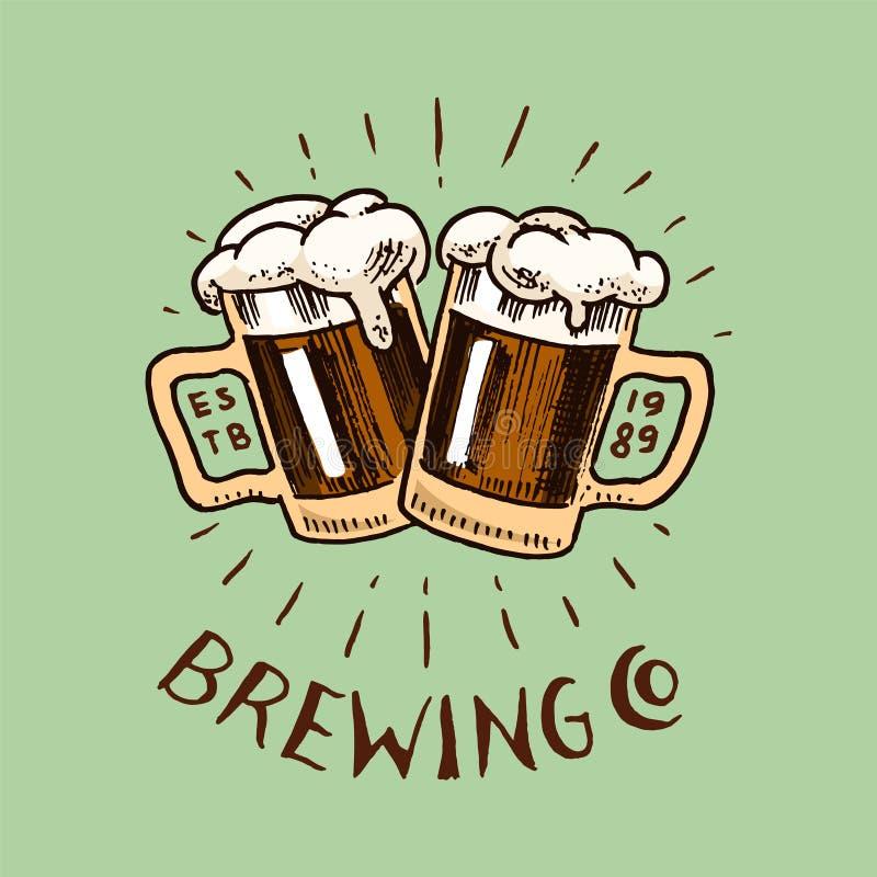 Het Glas van de toejuichingentoost bier in uitstekende stijl Alcoholisch Etiket met kalligrafische elementen Klassiek Amerikaans  royalty-vrije illustratie