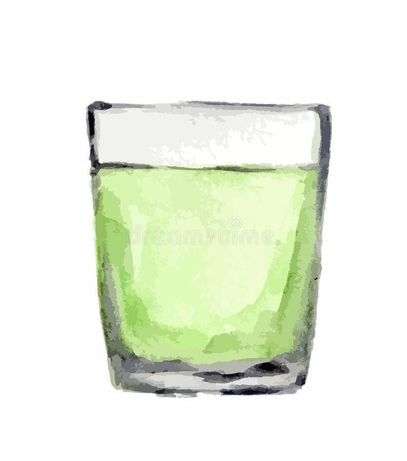 Het glas van de waterverfalcohol vector illustratie
