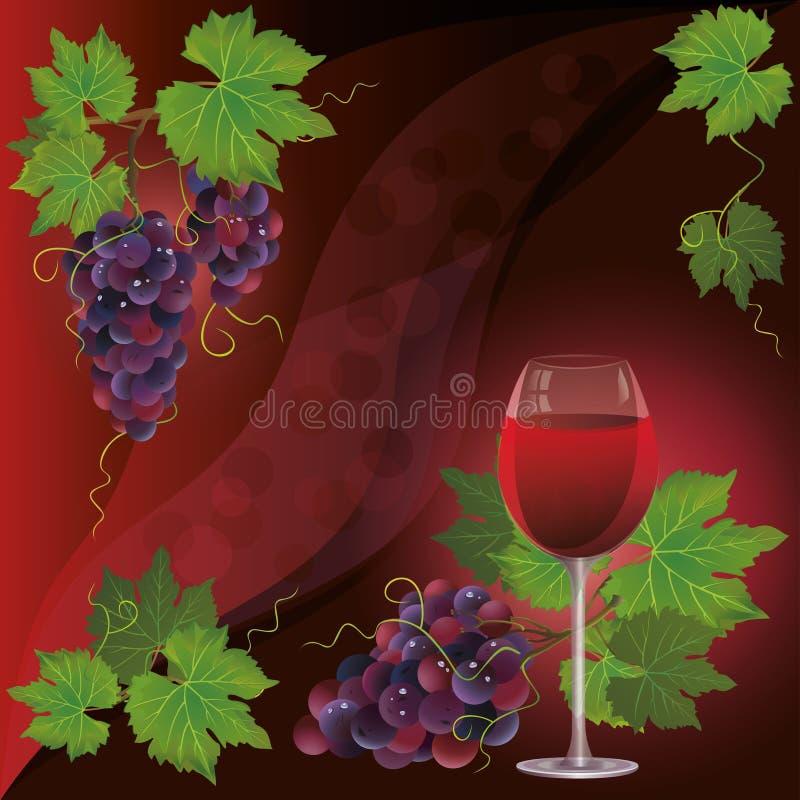 Het glas van de wijn en zwarte druif, achtergrond stock illustratie