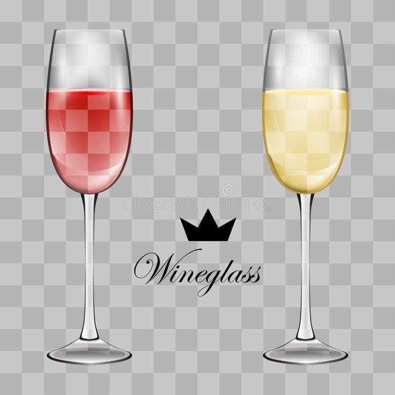 Het glas van de wijn Transparante vectorillustratie Vector stock illustratie