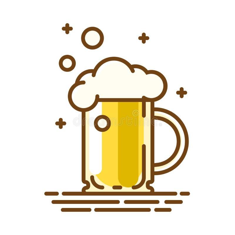 Het glas van het bier In vlak lineair pictogram Vectorlijnsymbool stock illustratie