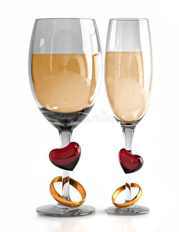 Het glas van het huwelijk stock illustratie