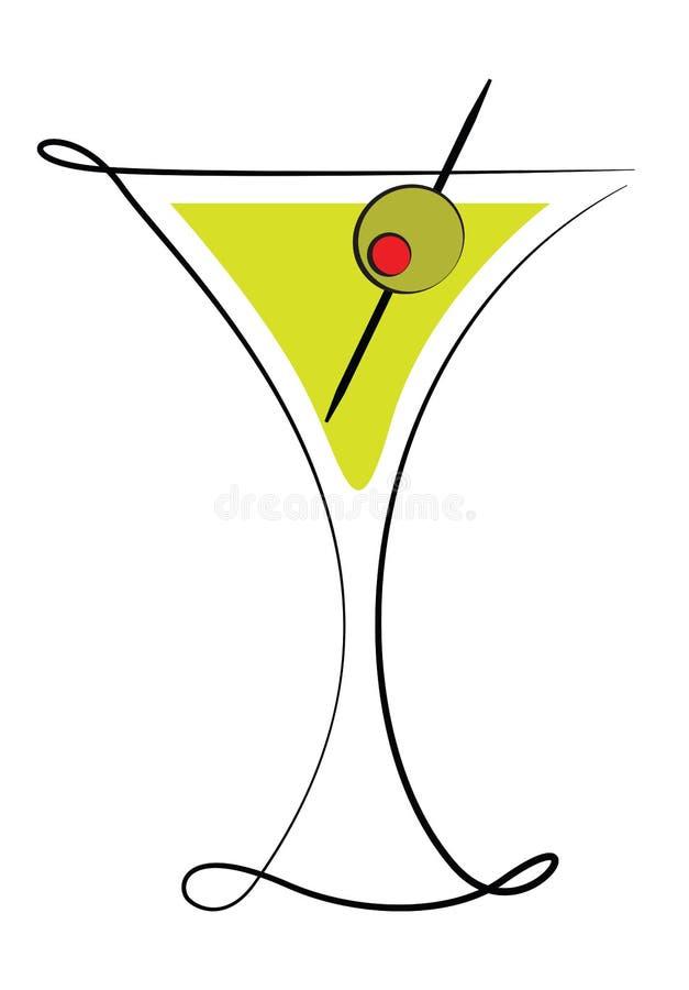 Het Glas van martini met Olijf vector illustratie