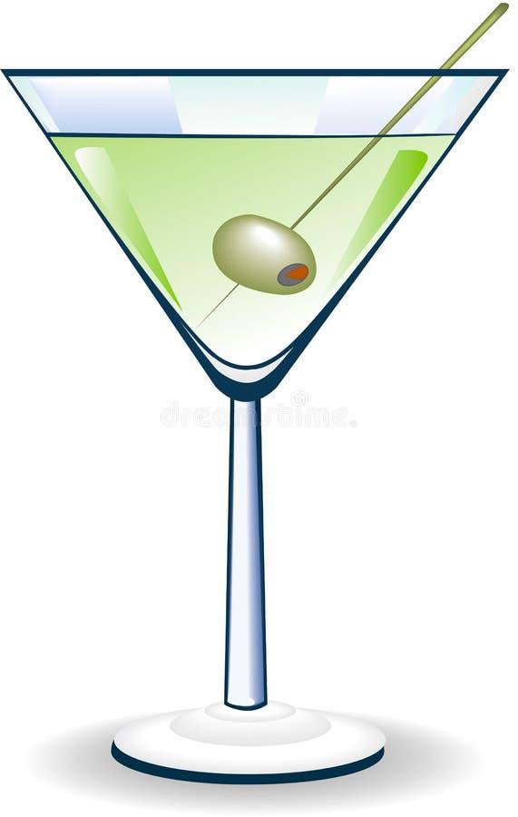 Het Glas van martini met Olijf stock afbeelding