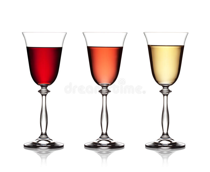 Het glas van rood, nam en witte wijn toe royalty-vrije stock fotografie