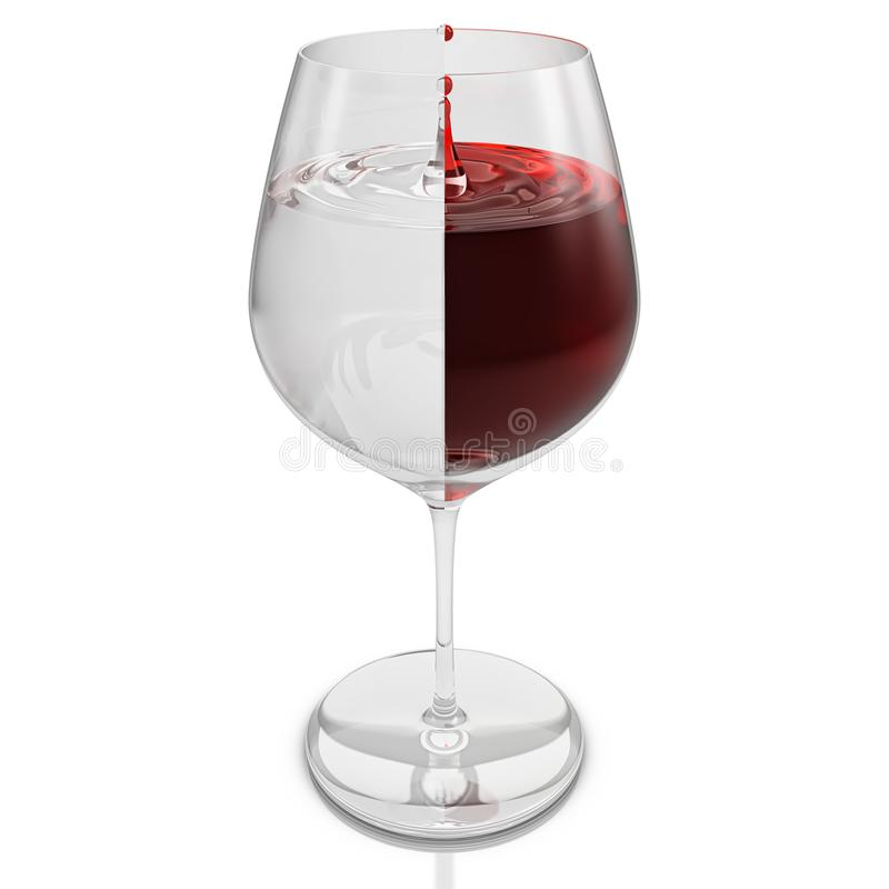 Het glas wijn met het druipen daalt en met vloeistof die door halve wijn en half die water worden gevormd in de helft wordt verde royalty-vrije illustratie