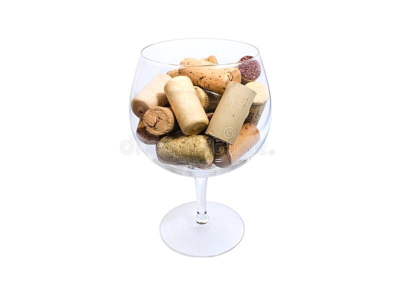 Het het glashoogtepunt van de wijn van kurkt stock afbeeldingen