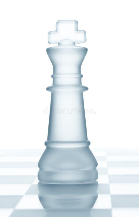 Het glaskoning van het schaak stock afbeelding