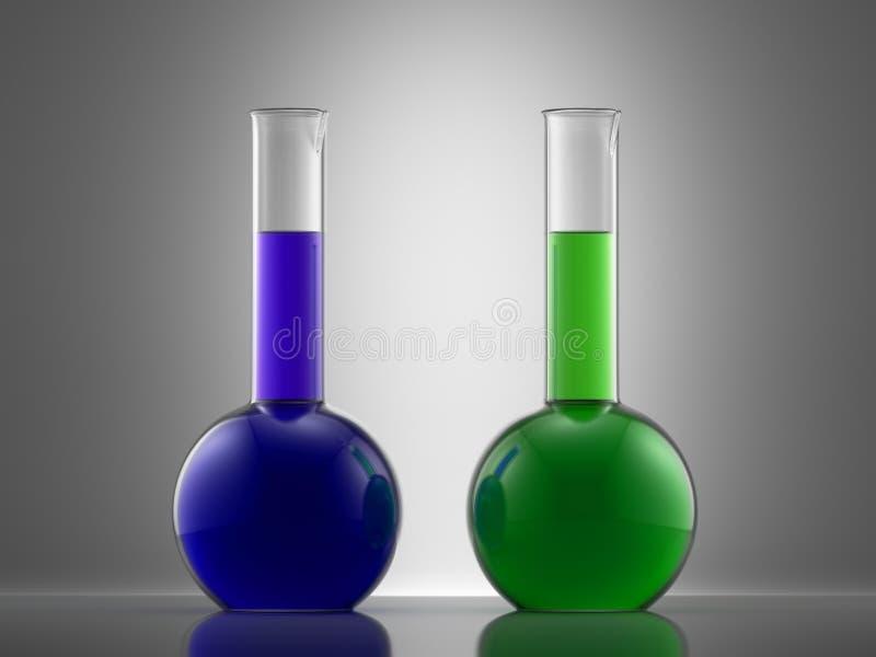 Het glasmateriaal van het wetenschapslaboratorium met vloeistof flessen met colo vector illustratie