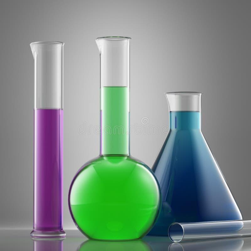 Het glasmateriaal van het wetenschapslaboratorium met vloeistof flessen met colo royalty-vrije illustratie