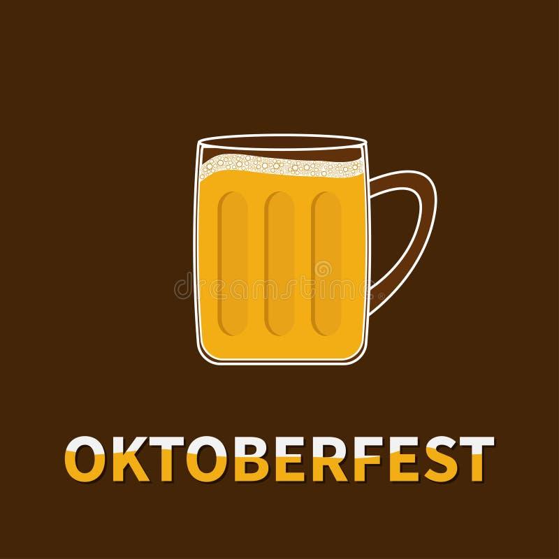Het glasmok van het Oktoberfest Grote Bier met de bel van het schuimglb schuim Vlak Ontwerp royalty-vrije illustratie