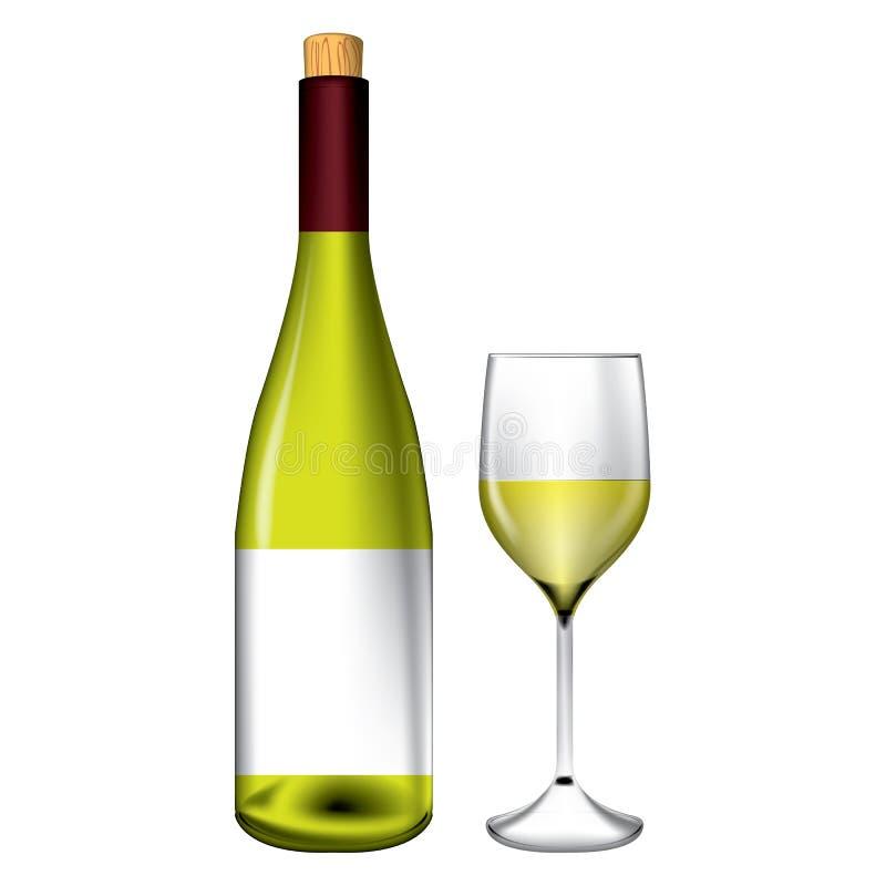 Het glasvector van de fles en van de wijn royalty-vrije illustratie