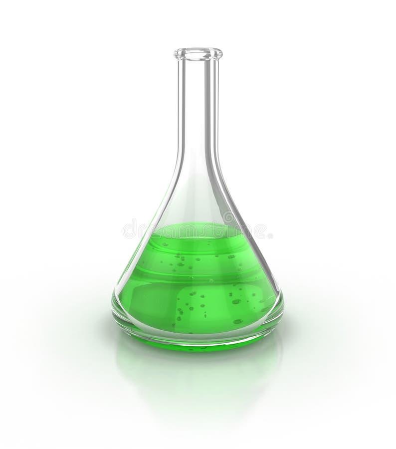 Het glaswerk van het laboratorium dat met groene vloeistof wordt ingediend stock illustratie