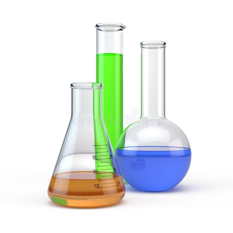 Het glaswerk van het laboratorium flacks stock illustratie