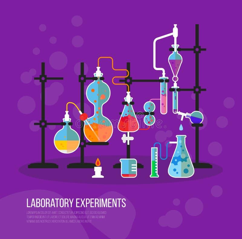 Het glaswerkfles van de experimentchemie met buizen Fles met vloeistof voor laboratorium of laboratorium chemisch experiment op s royalty-vrije illustratie