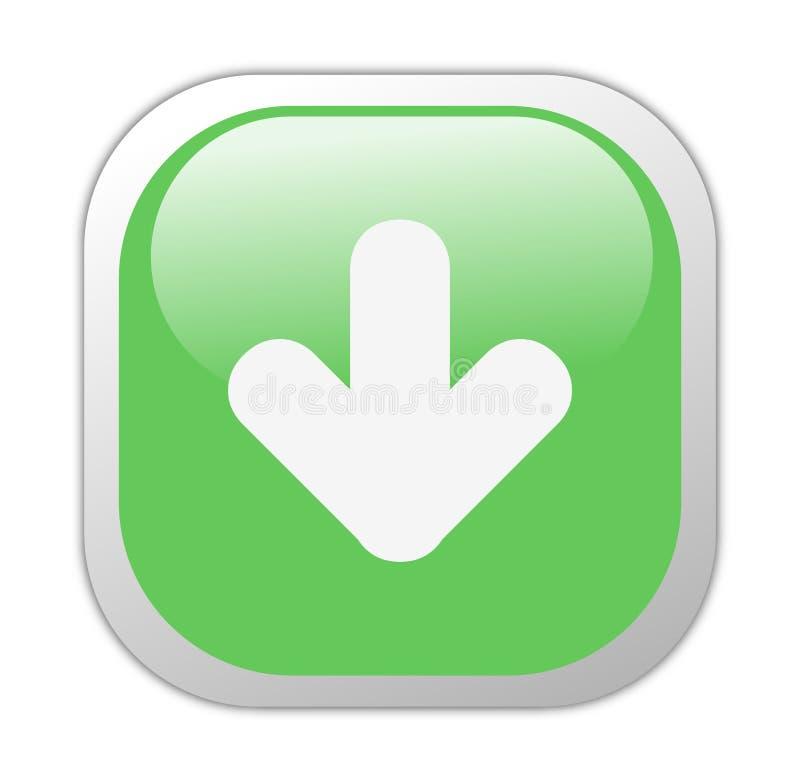 Het glazige Groene Vierkante Pictogram van de Download royalty-vrije illustratie