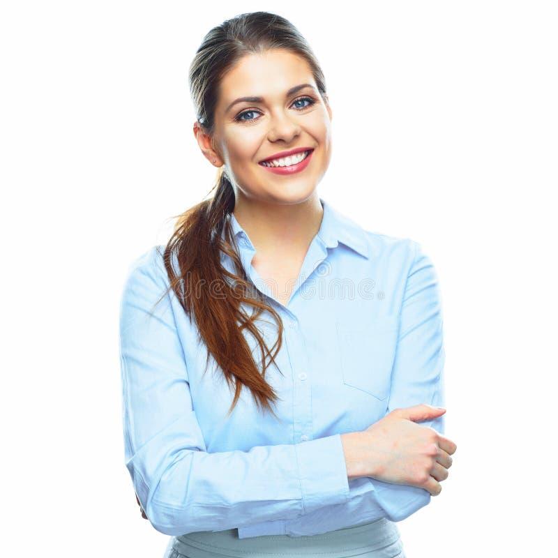 Het glimlachen bedrijfs geïsoleerde vrouwen witte achtergrond stock foto's