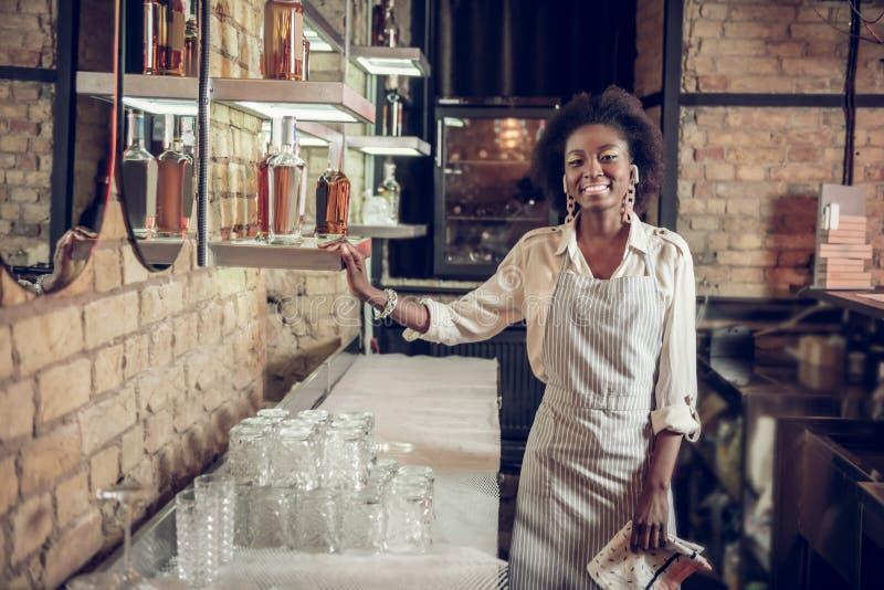 Het glimlachen betoverend donker-haired Afrikaans-Amerikaanse serveerster die zich dichtbij bar bevinden royalty-vrije stock foto